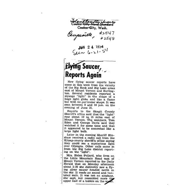Newspaper clipping of the incident