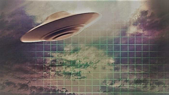 A depiction of a UFO in a clouded sky