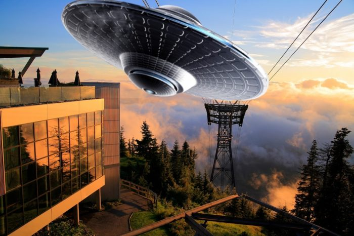 A superimposed UFO over Grouse Mountain