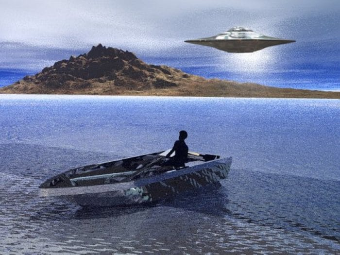Depiction of a UFO over a lake