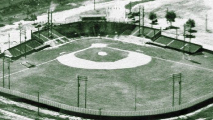 Aerial view of a local baseball ground