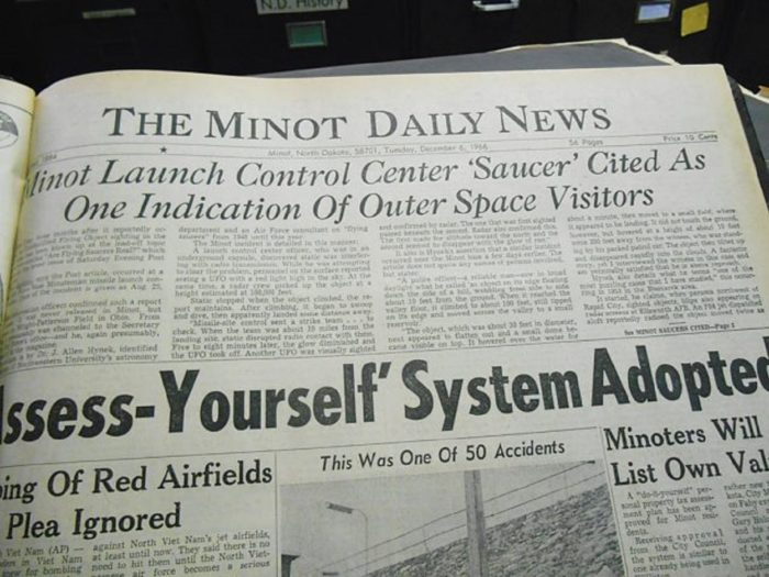 Newspaper clipping of the 1966 Minot Air Force Base incident