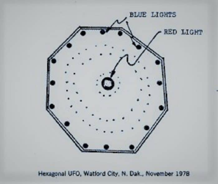 Witness sketch of the 1978 Dakota UFO sighting