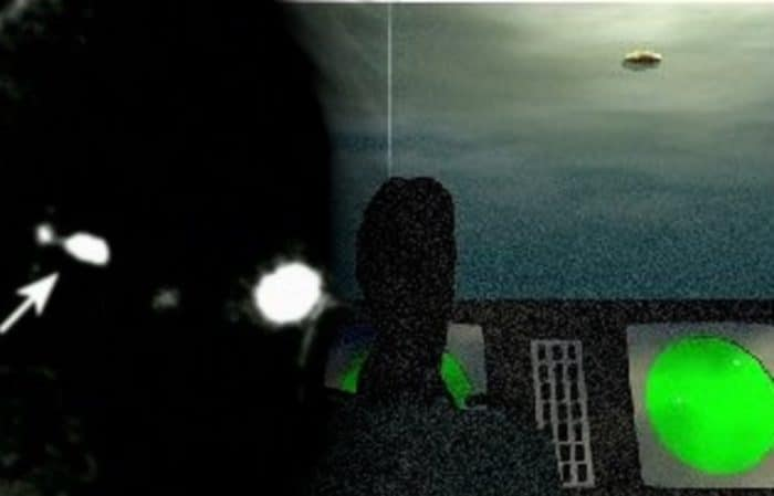 A depiction of the sighting from the control tower