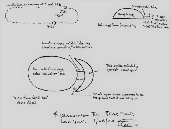 Witness sketch of the UFO sighting