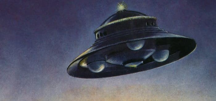 A depiction of a classic UFO