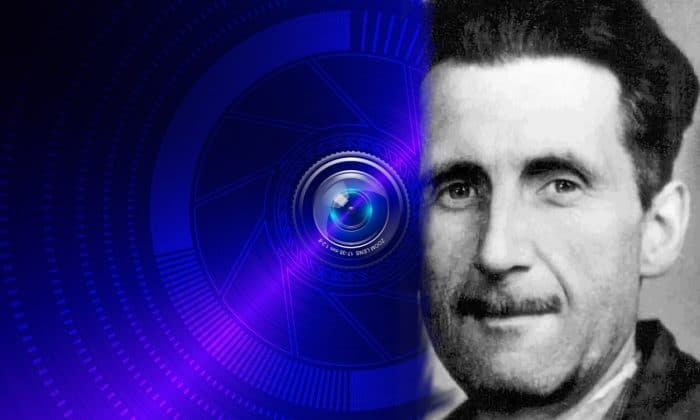 George Orwell blended into a futuristic security camera