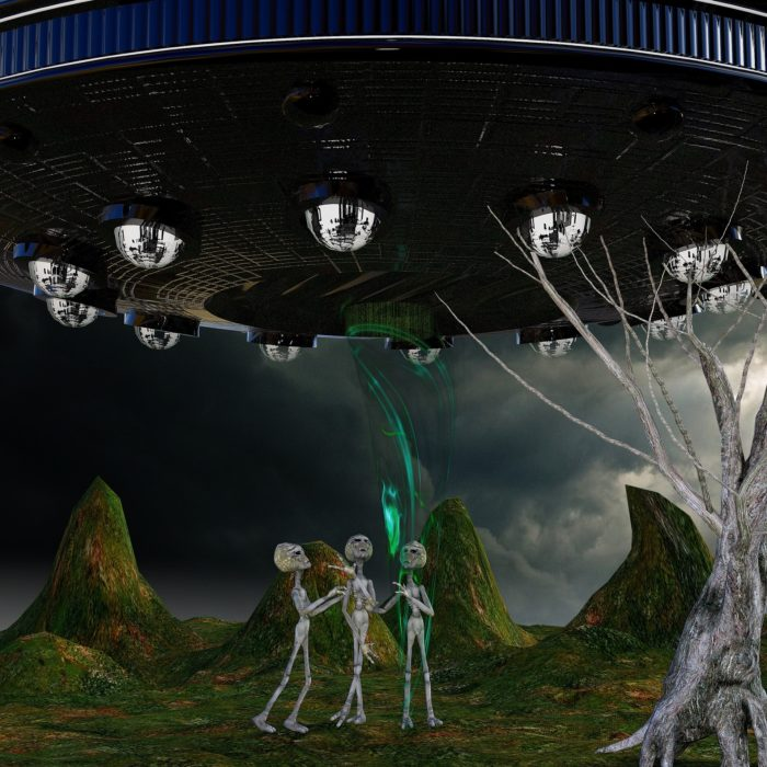 A depiction of three aliens standing underneath a UFO