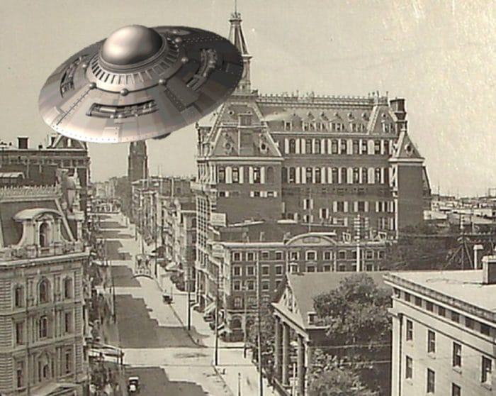 A depiction of a UFO in 1800s New York
