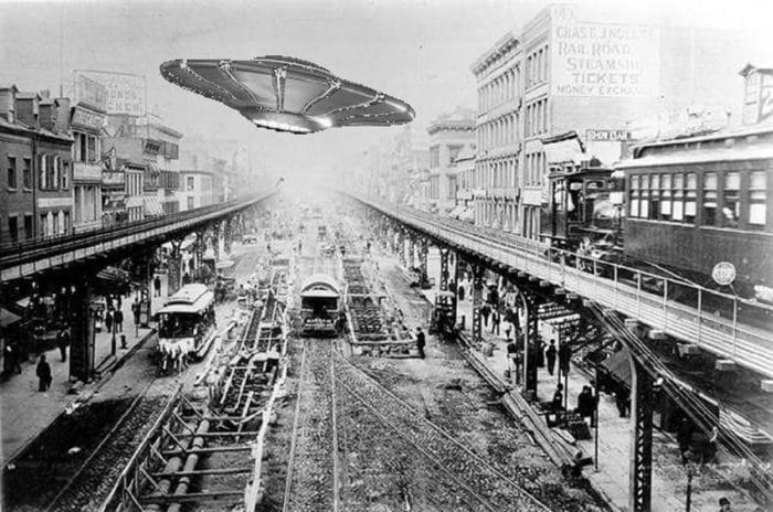 A depiction of a UFO over late 1800s New York