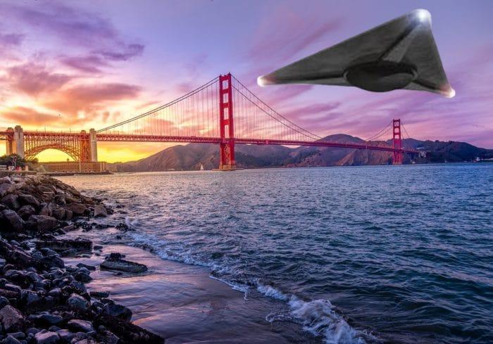 A depiction of a black triangle near the Golden Gate Bridge