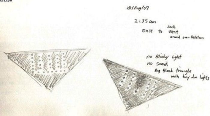 Sketch of a black triangle UFO