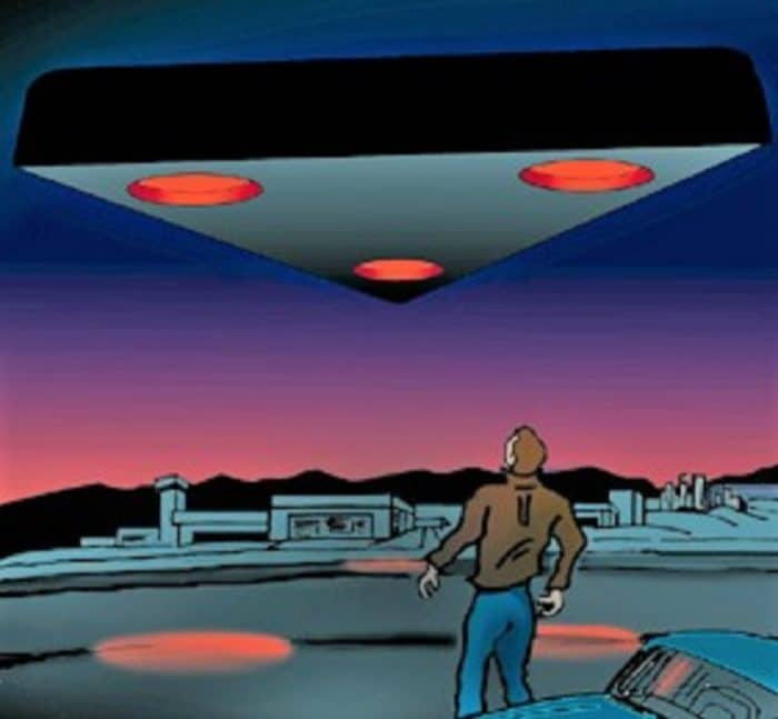A depiction of a black triangle UFO