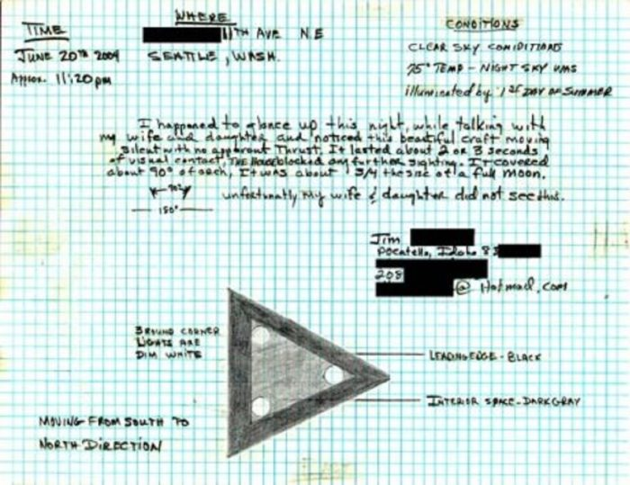 Sketch and note of a black triangle UFO