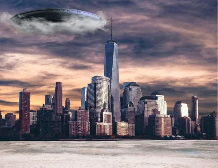 A depiction of a UFO emerging out of the clouds in New York