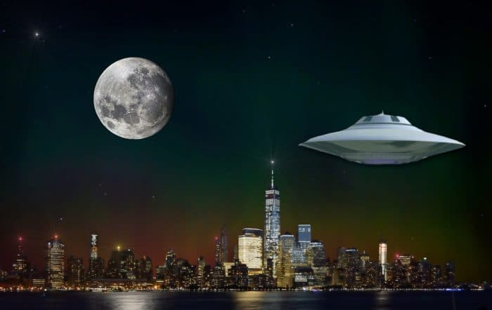 A depiction of a UFO in New York