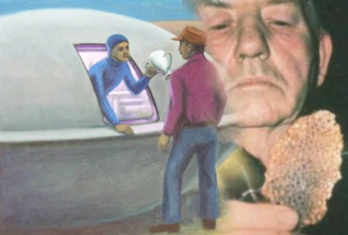 Depiction of the encounter blended into a picture of Joe Simonton