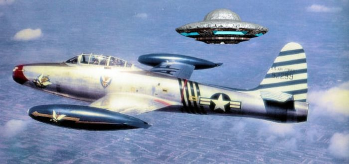 A depiction of a UFO next to a 1950s jet