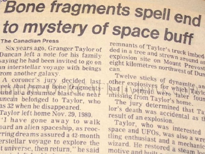 Newspaper clipping about the disappearance