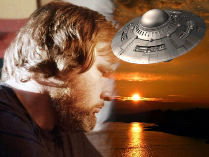A picture of Granger Taylor blended into a picture of a UFO