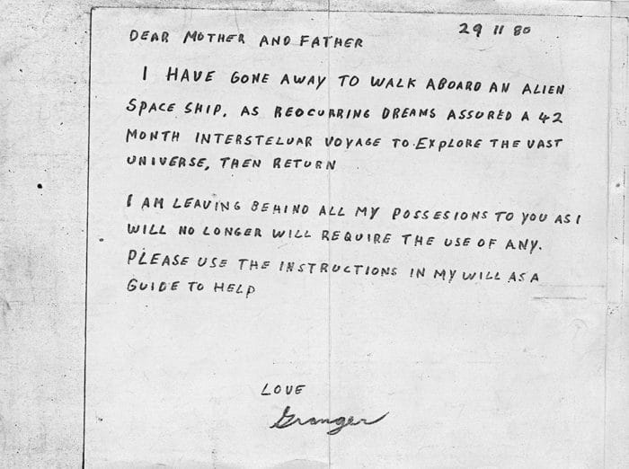 The note left by Granger Taylor
