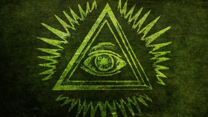 The all-seeing eye painted on to a green wall