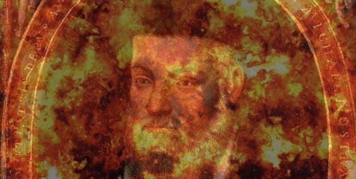 Picture of Nostradamus with superimposed explosion over the top