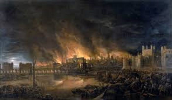 Picture of the Great Fire of London, 1666