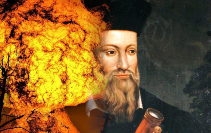 Picture of Nostradamus with blended explosion behind him