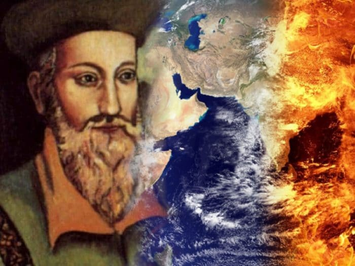 "Picture of Nostradamus blended into a depiction of ""end of the world"""