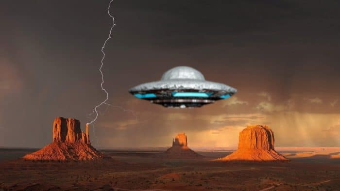 A depiction of a UFO in the desert