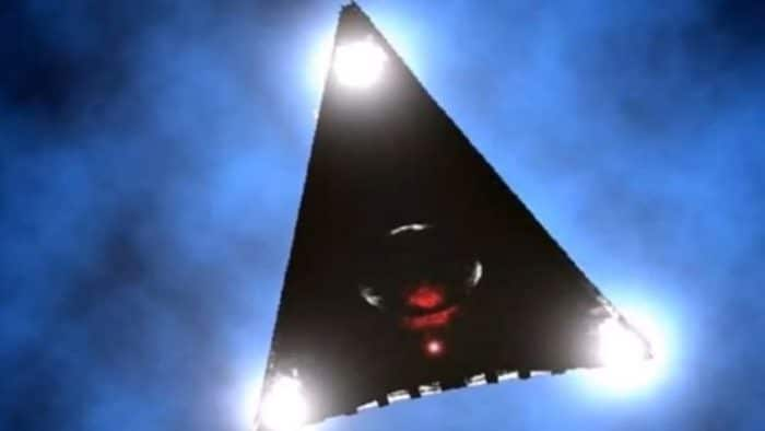 Depiction of a black triangle UFO