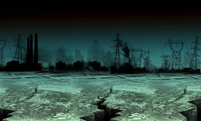 Artist's impression of post-apocalyptic world, dark skies with a burnt-out city