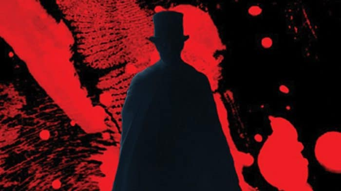 Depiction of Jack The Ripper against a blood-red background
