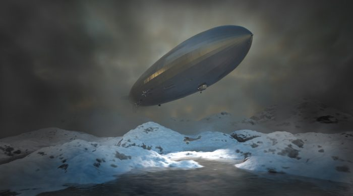 A depiction of an airship over the mountains