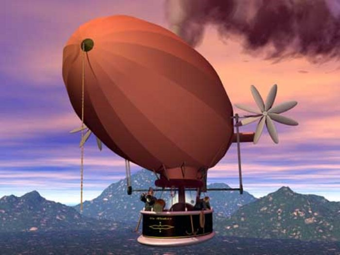 A depiction of an airship in the sky