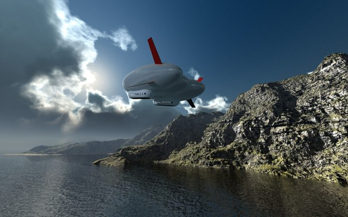 A depiction of an airship off the coast