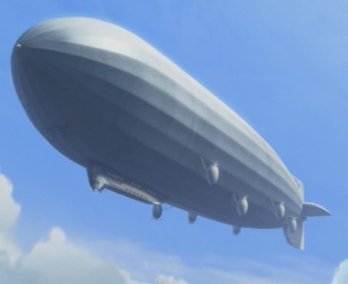 A depiction of an airship in a cloudy sky