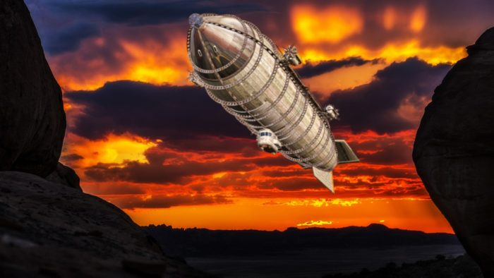 A depiction of an airship in the past