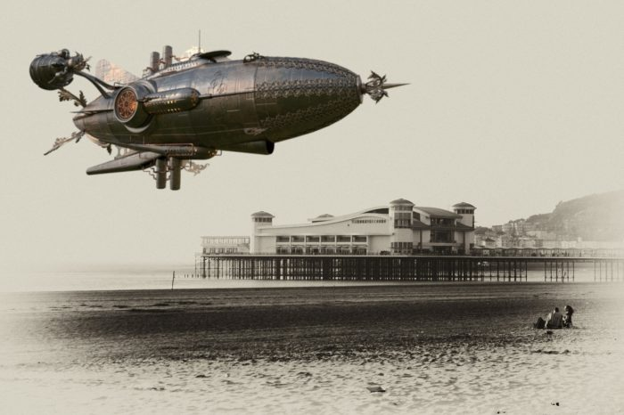 A superimposed airship of a 1900s seaside scene