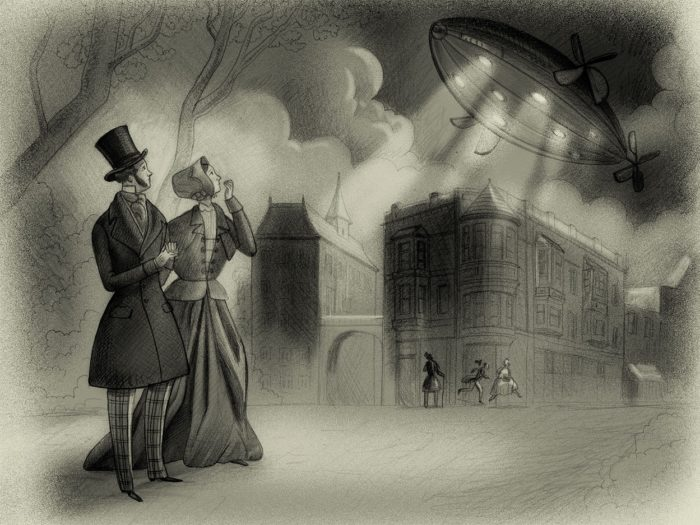 A depiction of one of the strange airships
