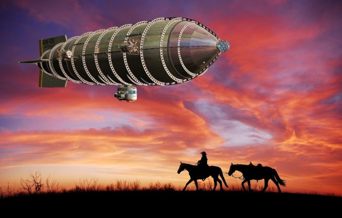 A depiction of an airship in the wild west