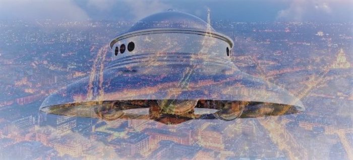 A superimposed UFO on to a picture of France