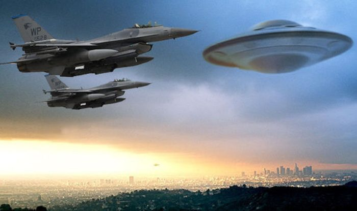 A depiction of two military jets and a UFO