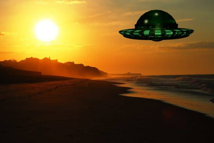 A depiction of a UFO off the US east coast