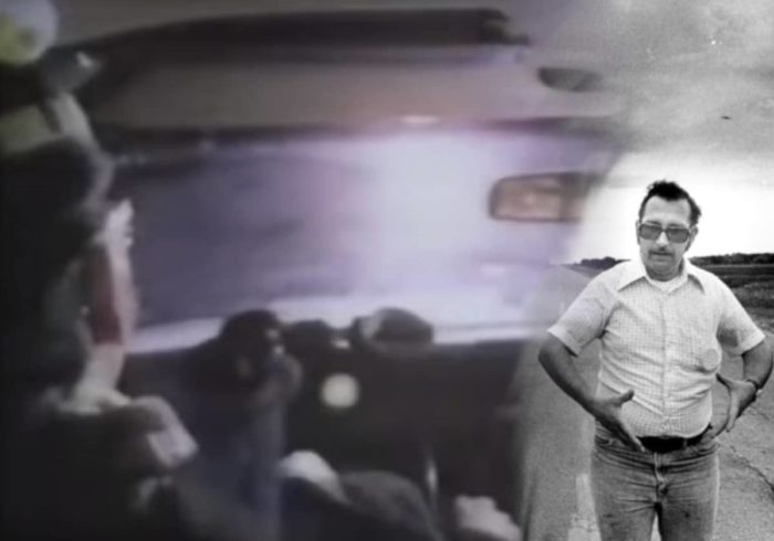 Val Johnson blended into a reproduction of the incident