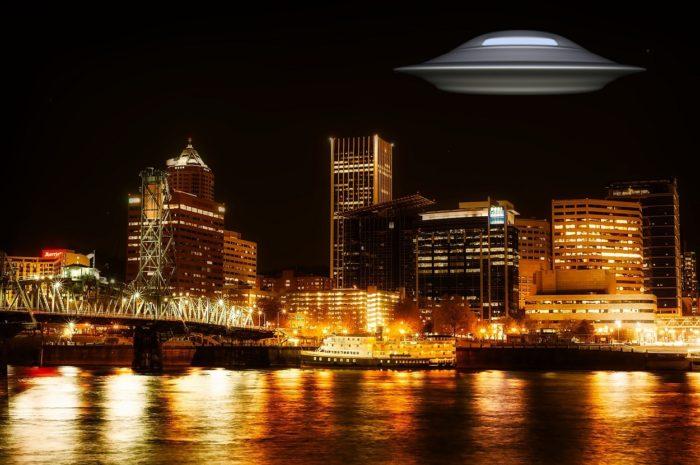 A superimposed UFO over Portland at night