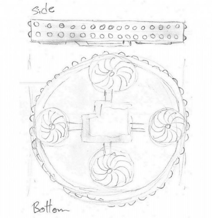 Side and bottom sketch of the strange object