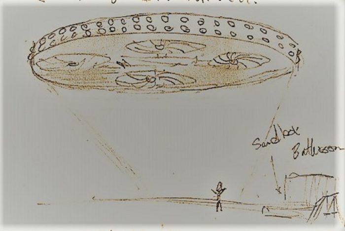 Artist's sketch of a round UFO