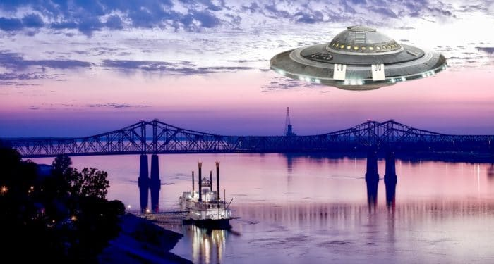 Superimposed UFO over the Mississippi